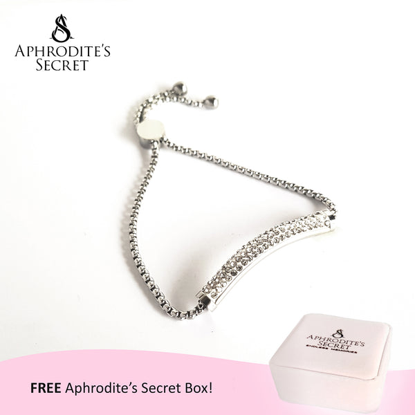 Aphrodite's Secret High Quality Sliding Clasp Bracelet Sparkling Round-Curved Shaped design (Pandora Inspired) Stainless Steel