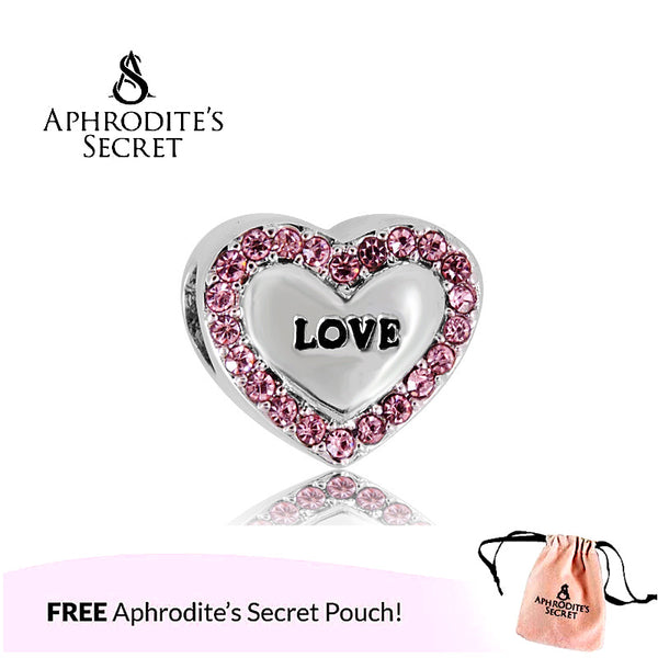 Aphrodite's Secret High Quality Pink Love Heart Design (Pandora Inspired) Stainless Steel