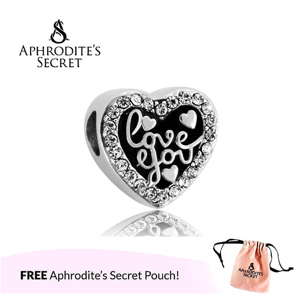 Aphrodite's Secret High Quality 'Love you' Heart Design (Pandora Inspired) Stainless Steel