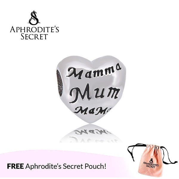Aphrodite's Secret High Quality Mum Mama Heart Design (Pandora Inspired) Stainless Steel