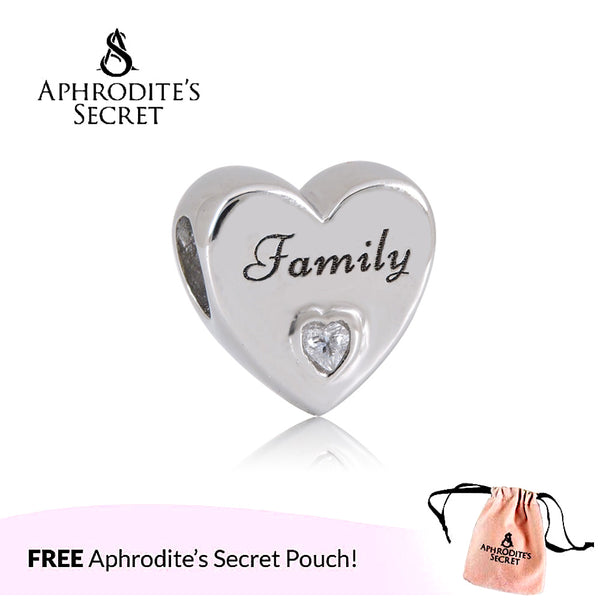 Aphrodite's Secret High Quality 'Family' Heart Design (Pandora Inspired) Stainless Steel