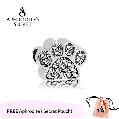 Aphrodite's Secret High Quality Pet Rhinestones Paws Design (Pandora Inspired) Stainless Steel