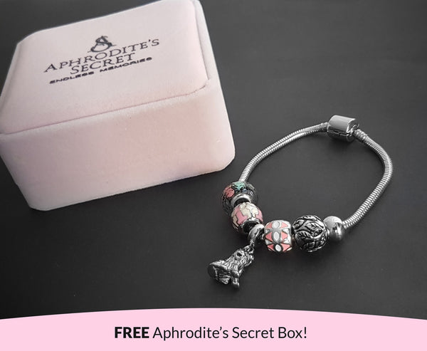 Aphrodite's Secret High Quality Bracelet with Charms (Pandora Inspired)  Lovely in Pink with Dog Charm with stoppers Stainless Steel 19CM