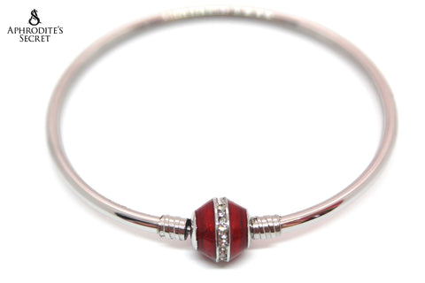 Aphrodite's Secret High Quality Red Charm Bangle - (Pandora Inspired) Stainless Steel