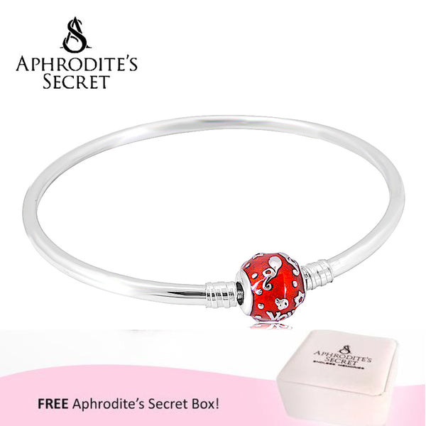 Aphrodite's Secret High Quality Snowflakes Charm Bangle - (Pandora Inspired) Stainless Steel (Red)