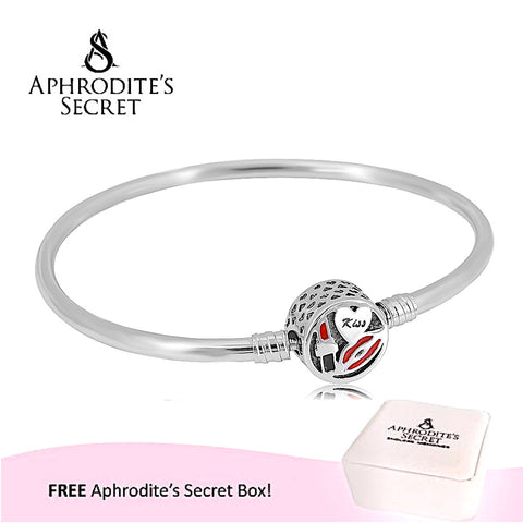 Aphrodite's Secret High Quality Charm Kiss Clasp Bangle - (Pandora Inspired) Stainless Steel