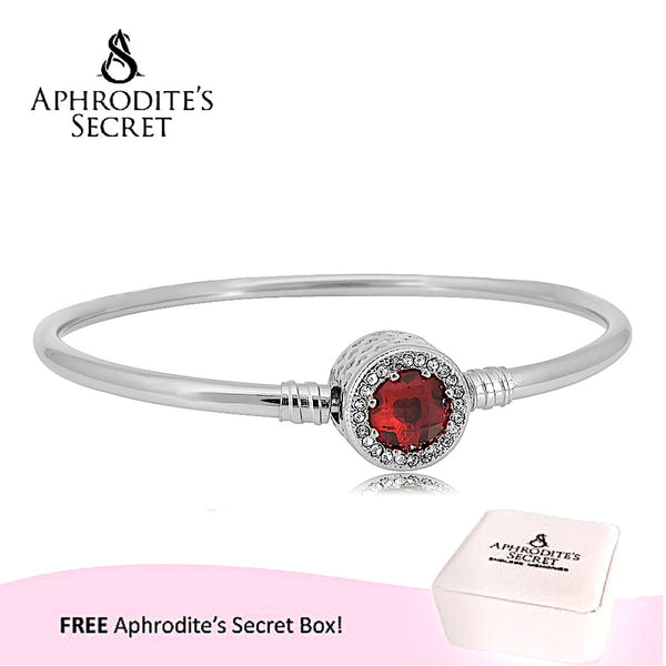 Aphrodite's Secret High Quality Zirconia Crystal Charm Bangle - (Pandora Inspired) Stainless Steel  (Red)