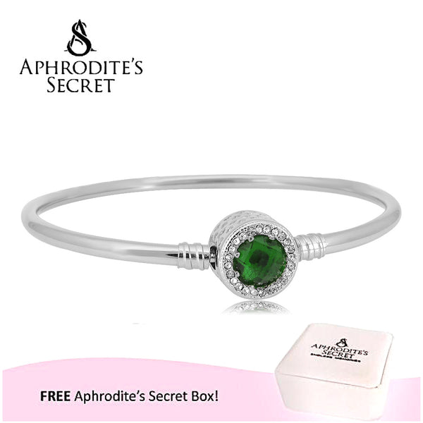 Aphrodite's Secret High Quality Zirconia Crystal Charm Bangle - (Pandora Inspired) Stainless Steel  (Green)