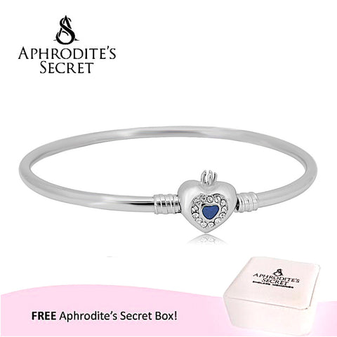 Aphrodite's Secret High Quality Heart Clasp Bangle - (Pandora Inspired) Stainless Steel  (Blue)