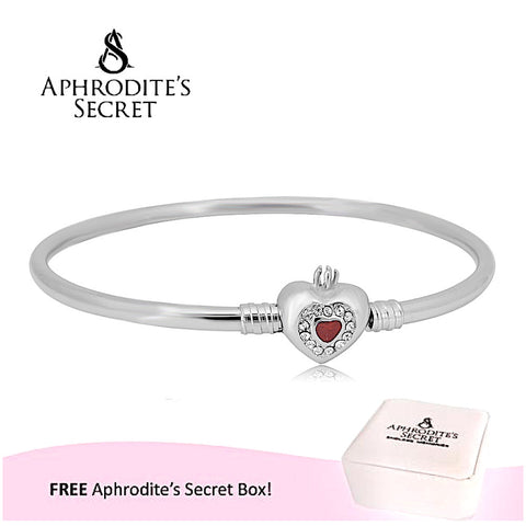 Aphrodite's Secret High Quality Heart Clasp Bangle - (Pandora Inspired) Stainless Steel  (Red)