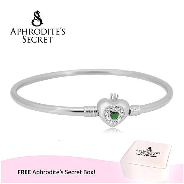 Aphrodite's Secret High Quality Heart Clasp Bangle - (Pandora Inspired) Stainless Steel  (Green)