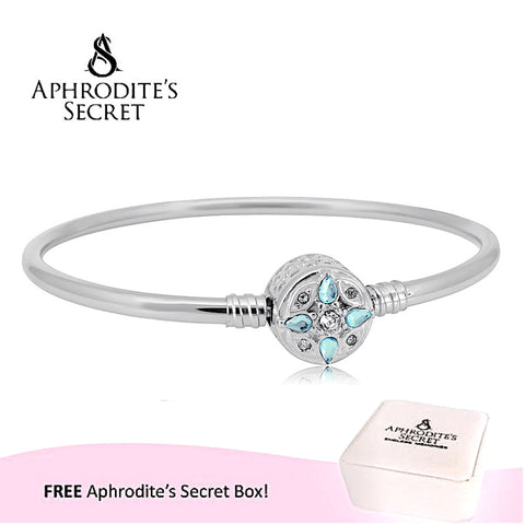 Aphrodite's Secret High Quality Crystal Flower Charm Clasp Bangle - (Pandora Inspired) Stainless Steel  (Blue)
