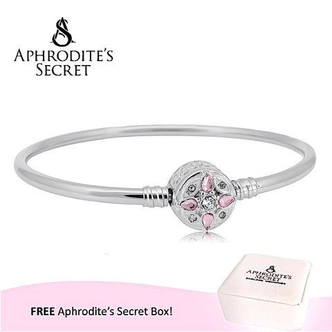 Aphrodite's Secret High Quality Crystal Flower Charm Clasp Bangle - (Pandora Inspired) Stainless Steel  (Pink)