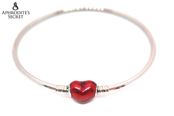 Aphrodite's Secret High Quality Love Heart Charm Clasp Bangle - (Pandora Inspired) Stainless Steel  (Red)