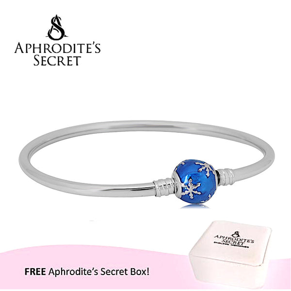 Aphrodite's Secret High Quality Blue Enamel Charm Clasp Bangle - (Pandora Inspired) Stainless Steel