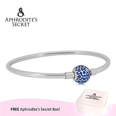 Aphrodite's Secret High Quality Dazzling Stars Charm Clasp Bangle - (Pandora Inspired) Stainless Steel  (Blue)