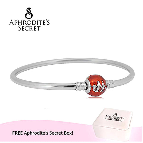 Aphrodite's Secret High Quality Family Silhouette Charm Clasp Bangle - (Pandora Inspired) Stainless Steel  (Red))