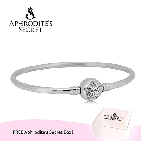 Aphrodite's Secret High Quality Bright Star  Charm Clasp Bangle - (Pandora Inspired) Stainless Steel  (Slver)