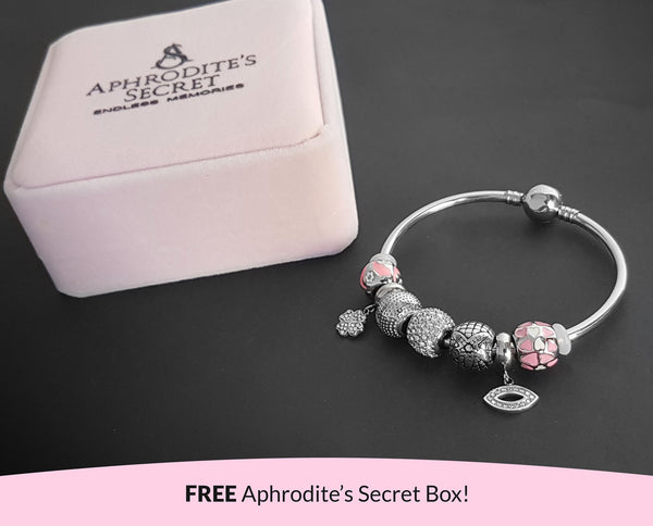 Aphrodite's Secret High Quality Bracelet Bangle with Charms (Pandora Inspired)  Four-leaf Clover and eye Charms Stainless Steel 19CM