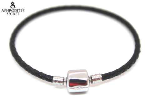 Aphrodite's Secret High Quality Leather woven Barrel Snap Clasp Bracelet (Pandora Inspired) Stainless Steel  (Black)