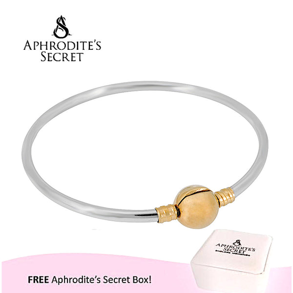 Aphrodite's Secret High Quality Classic Silver Bangle with Gold  Clasp  Bangle (Pandora Inspired) Stainless Steel
