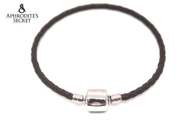 Aphrodite's Secret High Quality Braided Leather  Barrel Snap Clasp Bracelet (Pandora Inspired) Stainless Steel  (Brown)