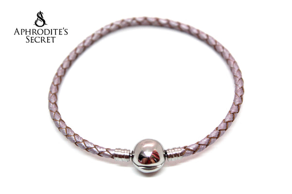 Aphrodite's Secret High Quality Braided Leather Charm Bracelet Round Clasp (Pandora Inspired) Stainless Steel  (Purple)