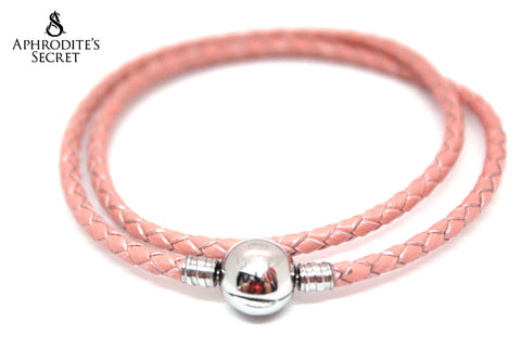 Aphrodite's Secret High Quality Pink /Peach Braided-Double Leather charm Bracelet round clasp (Pandora Inspired) Stainless Steel