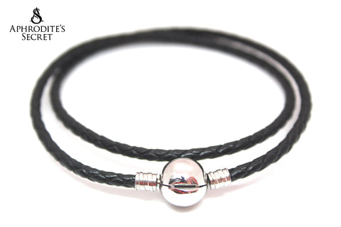 Aphrodite's Secret High Quality Black Braided-Double Leather charm Bracelet round clasp (Pandora Inspired) Stainless Steel