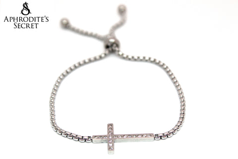 Aphrodite's Secret High Quality Sliding Clasp Bracelet Classic Cross Design (Pandora Inspired) Stainless Steel