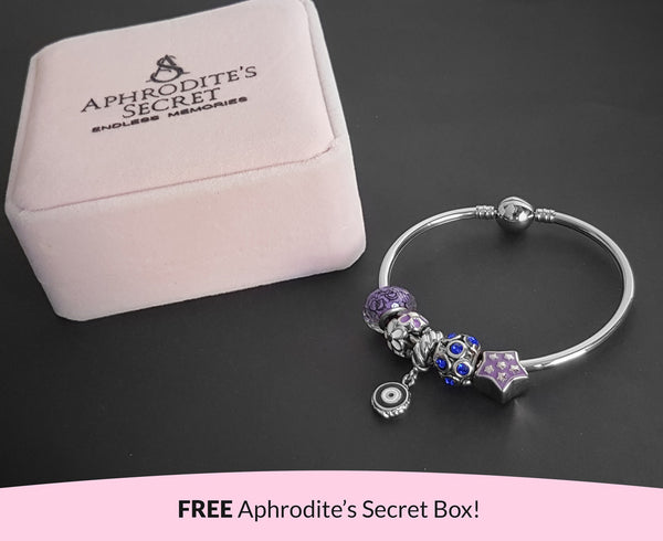 Aphrodite's Secret High Quality Bracelet Bangle with Charms (Pandora Inspired)  Lovely Purple and Blue Charms Stainless Steel 19CM