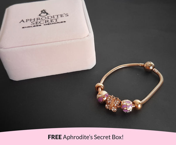 Aphrodite's Secret High Quality Bracelet with Charms (Pandora Inspired)  Lovely Purple and Butterfly Charms with stoppers Stainless Steel 19CM (Rose Gold)
