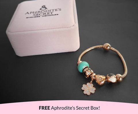 Aphrodite's Secret High Quality Bracelet with Charms (Pandora Inspired) Crystal Four-Leaf Clover & heart charms with stoppers Stainless Steel 18CM (Rose Gold)
