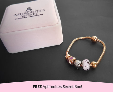 Aphrodite's Secret High Quality Bracelet with Charms (Pandora Inspired) Two-Toned charms with stoppers Stainless Steel 18CM (Rose Gold)