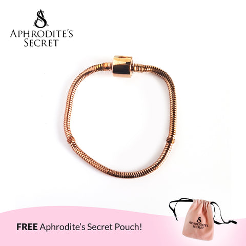 Aphrodite's Secret High Quality Charm Bracelet - Barrel Clasp (Pandora Inspired) Stainless Steel 18CM (Rose Gold)