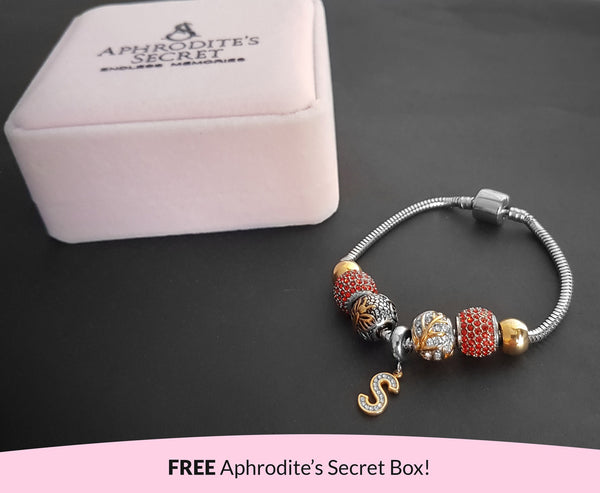 Aphrodite's Secret High Quality Bracelet with Charms (Pandora Inspired)  Letter S charm in Two-Toned with stoppers Stainless Steel 20CM (Gold + Silver)