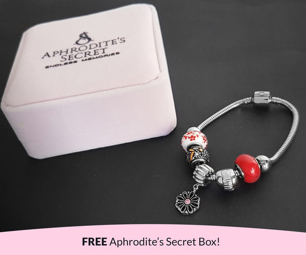 Aphrodite's Secret High Quality Bracelet with Charms (Pandora Inspired)  Floral Charm with Red-Themed beads with stoppers Stainless Steel 19CM