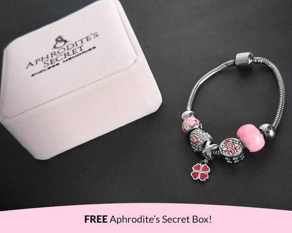 Aphrodite's Secret High Quality Bracelet with Charms (Pandora Inspired) Pretty in Pink charms and Beads with stoppers Stainless Steel 19CM