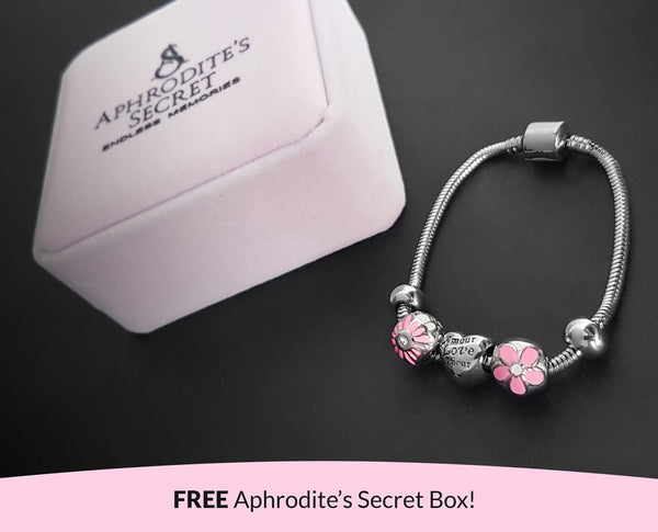 Aphrodite's Secret High Quality Bracelet with Charms (Pandora Inspired) Amour (Love) charm with stoppers Stainless Steel 18CM