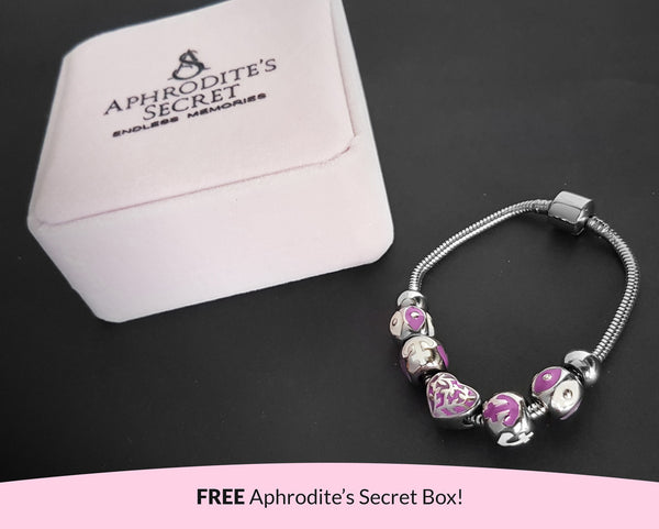 Aphrodite's Secret High Quality Bracelet with Charms (Pandora Inspired) Lovely Purple Beads (Anchor Themed) and Charms with stoppers Stainless Steel 19CM