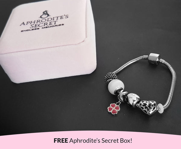 Aphrodite's Secret High Quality Bracelet with Charms (Pandora Inspired) Pink Four-Leaf Clover and classic Black-Themed Charms with stoppers Stainless Steel 19CM