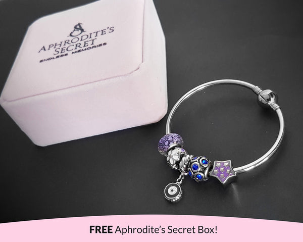 Aphrodite's Secret High Quality Bracelet Bangle with Charms (Pandora Inspired)  Purple and blue with eye charm Stainless Steel 19CM