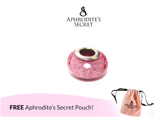 Aphrodite's Secret High Quality Shimmering Murano Glass Bead (Pandora Inspired) Stainless Steel (Pink)