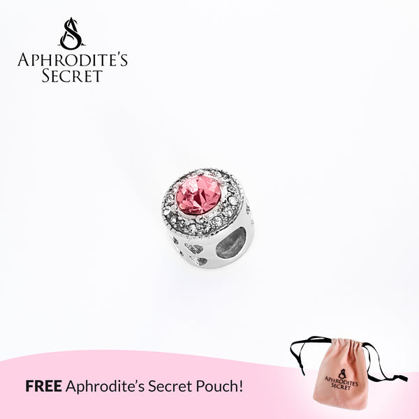 Aphrodite's Secret High Quality Pink Zirconia Crystal Charm Bead (Pandora Inspired) Stainless Steel