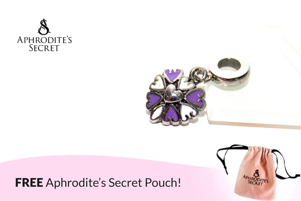 Aphrodite's Secret High Quality Purple & White Hearts Charm Bead (Pandora Inspired) Stainless Steel