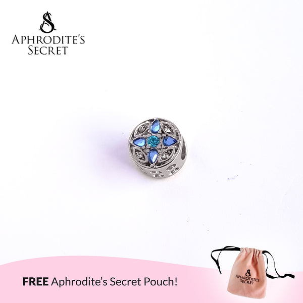 Aphrodite's Secret High Quality Crystal Blue Flower & Heart Charm Bead (Pandora Inspired) Stainless Steel