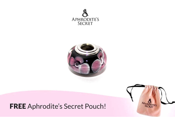 Aphrodite's Secret High Quality Purple Flower Murano Bead (Pandora Inspired) Stainless Steel (Black)