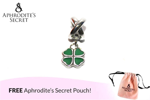 Aphrodite's Secret High Quality Green Four Leaf Clover Charm Bead (Pandora Inspired) Stainless Steel