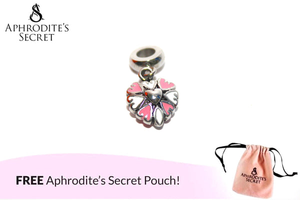 Aphrodite's Secret High Quality Pink & White Hearts Charm Bead (Pandora Inspired) Stainless Steel