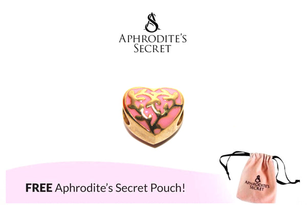 Aphrodite's Secret High Quality Gold Heart Charm Bead (Pandora Inspired) Stainless Steel (Pink)